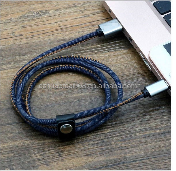 100% copper conductor with JEANS leather jacket cable for iphone android,length and colour design customized