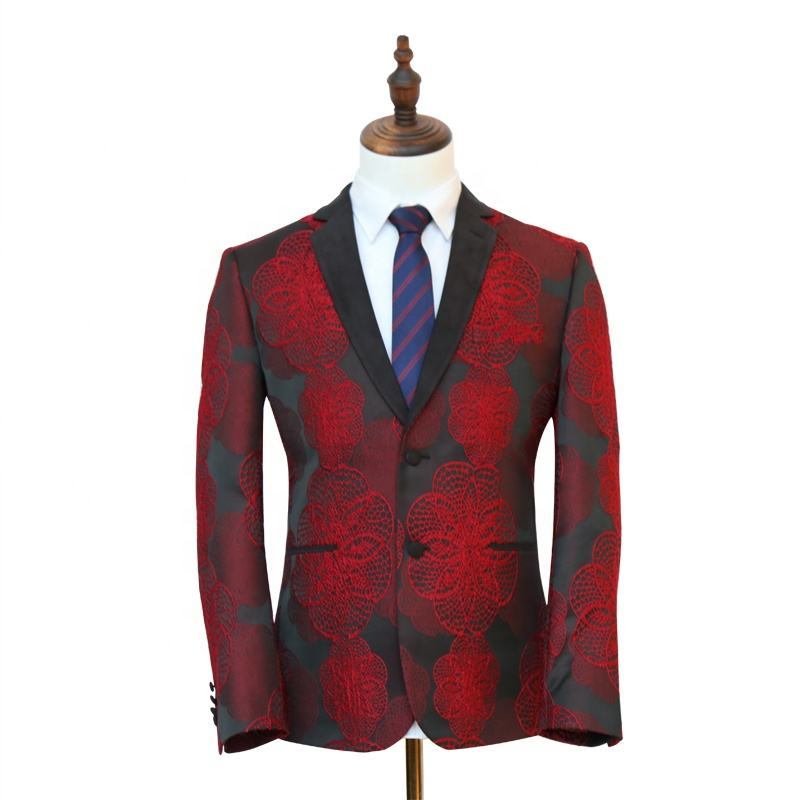 Wholesale red TR jacquard fabric men clothes groomsman flower jackets wedding dresses suits for men