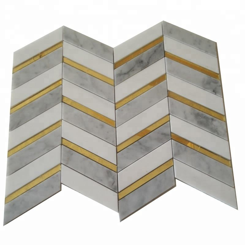 Best Manufacturer Thassos White Mixed Carrara Marble inlay glass Crystal Waterjet Mosaic Wall Tiles