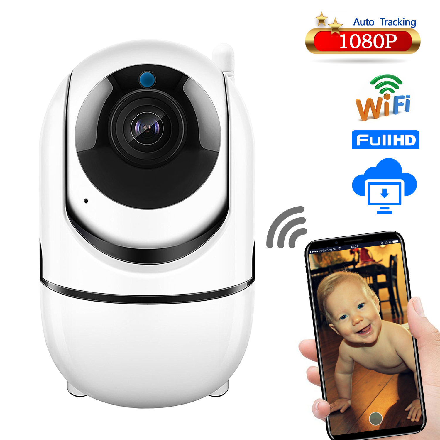 Rumah Video Baby Monitor 1080 P Nirkabel Berputar Audio Bayi Monitor Wifi IP Baby Monitor Video