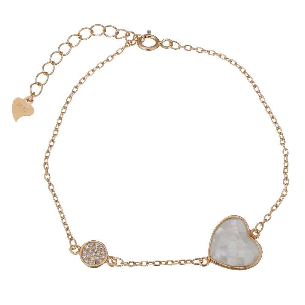 925 Sterling Silver Wholesale Shell Jewelry Bracelet Abalone Shell with 1.5Inch extender chain Heart 599570