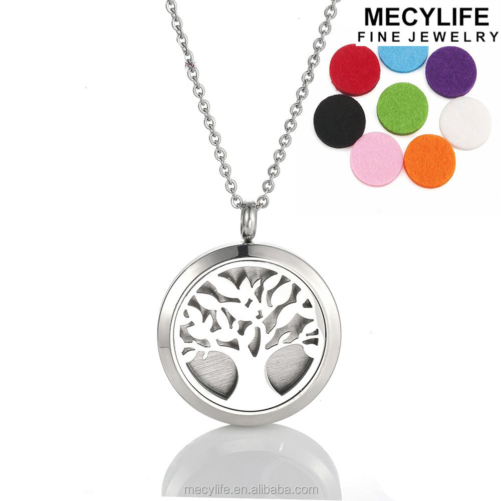 MECYLIFE Tree Of Life Jewelry Essential Oil Necklace Stainless Steel Diffuser Locket Pendant