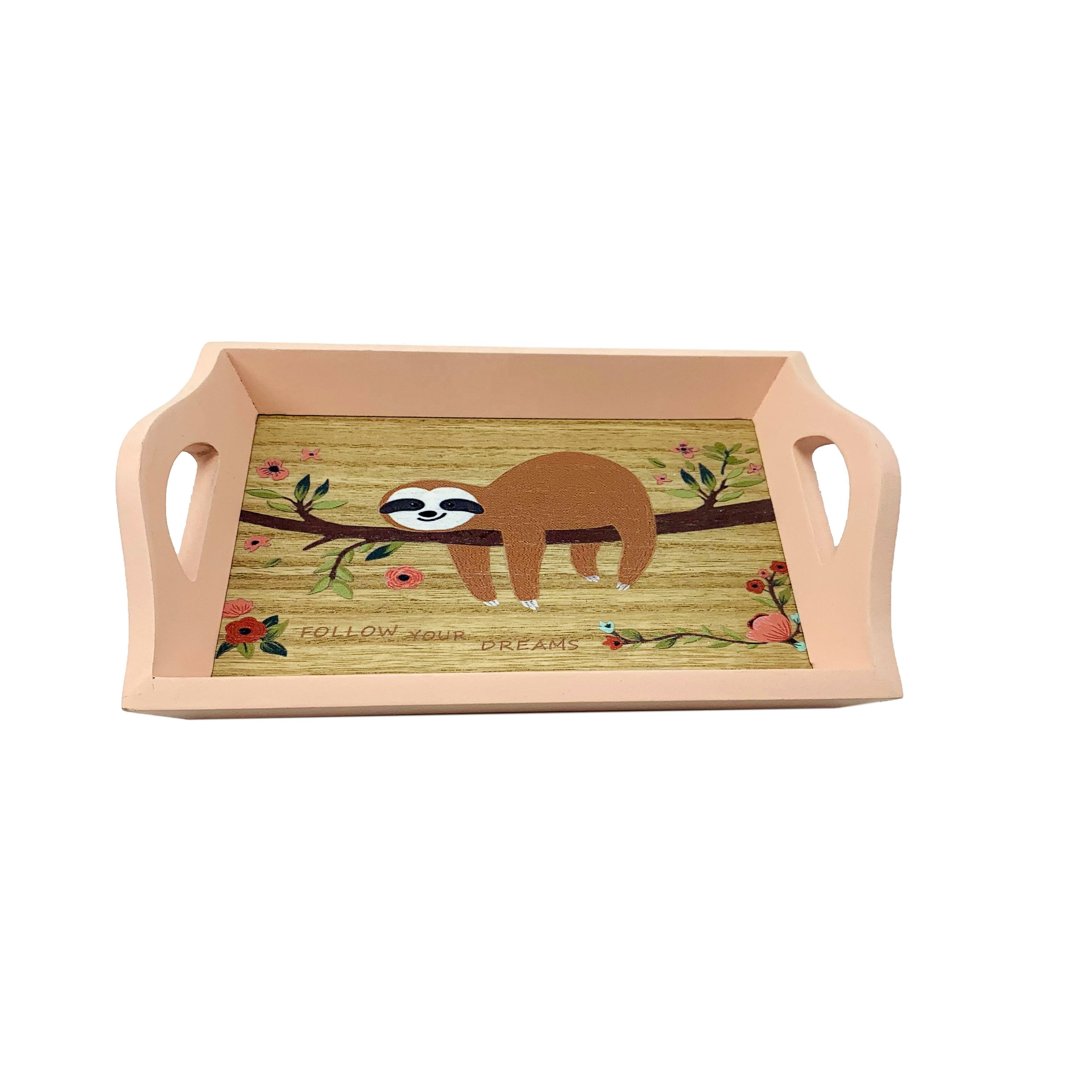 Wholesale decorative table wooden serving tray with handles