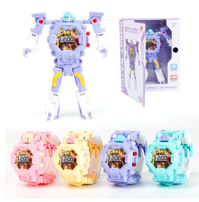 New arrival Children Kids 3D Digital Watches Plastic Robot Watch Toys For Kids gift