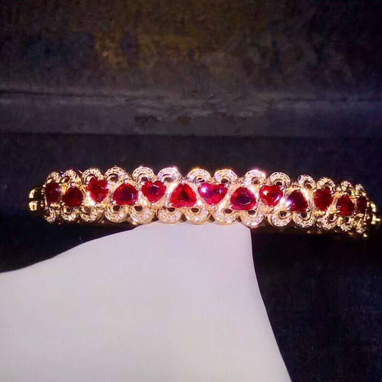Indian style wedding gemstone jewelry 18k gold South Africa real diamond 3ct natural pigeon blood red ruby bangle for women