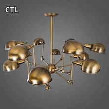 Spain popular flexible decorative restaurant spider pendant lights ceiling lamp industrial vintage designer brass chandelier