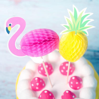 Pink Flamingo Cake Topper Pineapple Paper Cake Toppers for Wedding Party Decorations Hawaiian Party Supplies Cupcake Topper