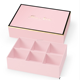 Pink Color Printed Boxes with Gold Stamp Frame Food Chocolate Packaging Cardboard Box Dividers