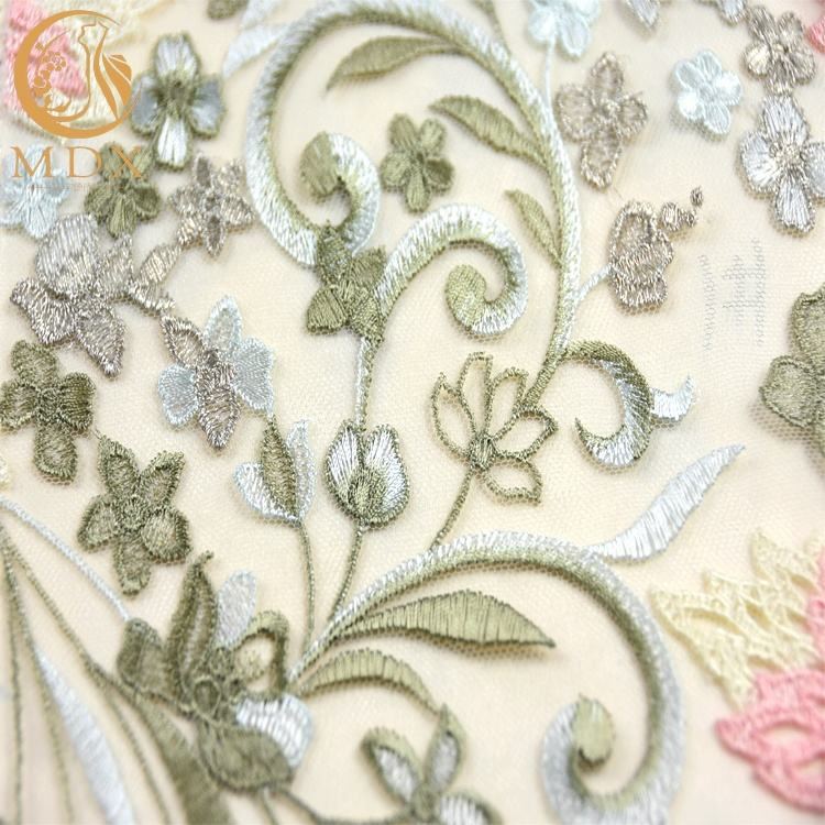 80% Nylon Material Elegant Tulle Embroidery Fabric Machine Mesh Embroidered Lace Fabric For French Lace Party Dress