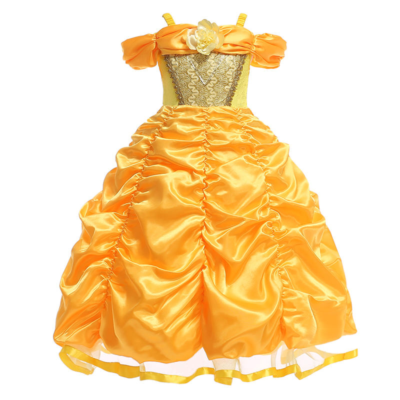 New Design Importing Child Clothing Beauty And The Beast Fancy Custom Queen Belle Yellow Flower Girl Dresses SMR023