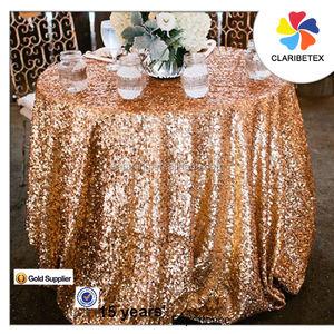 Ventas al por mayor de lujo brillante lentejuela metálico cubierta de tabla paño de tabla para la boda