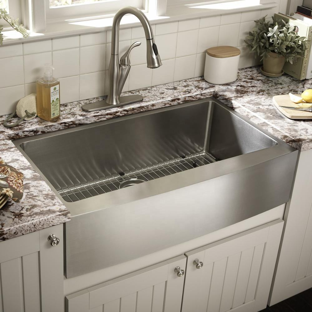 Stainless Steel 304 Single Bowl Apron Front Undermount House Kitchen Handmade Sink
