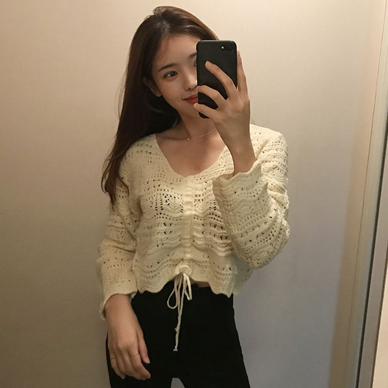 2019 new arrival western style v neck hollow out bandage sexy women blouse sweater