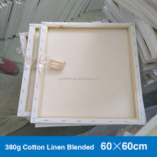 380g Wholesale blank canvas white cotton linen blended canvas 60*60cm stretched canvas