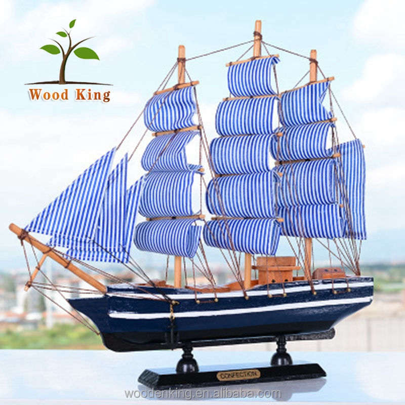 Mediterranean Living Room Household Adornment Bionic Polishing Craft Furnishing Sailboat Souvenir Model Wooden Boat