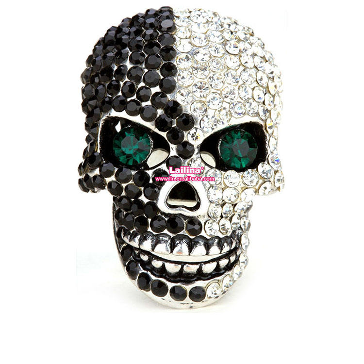 Sparkling skull shape Crystal Rhinestone button for Halloween decorative