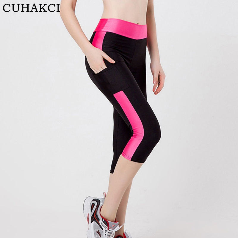 CUHAKCI Women's Active Stretch Thin Exercise Capri Crop Yoga Tights Running Pants Leggings