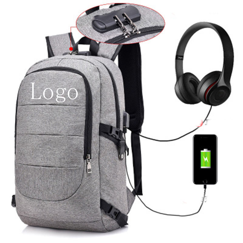 Men Travelling Water Resistant Backpack USB Recharging 15.6 Inches Laptop Backpack With Anti-theft Lock