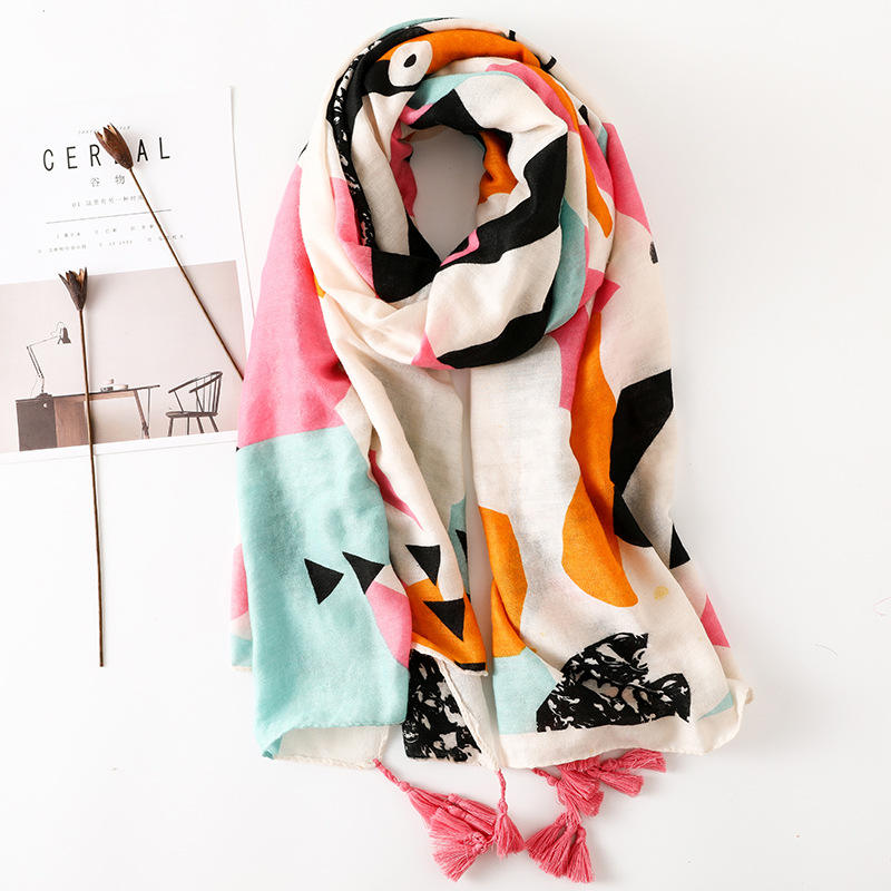 2018 Cotton Multicolor Printed Strip cartoon Women Fashion Shawl Scarf