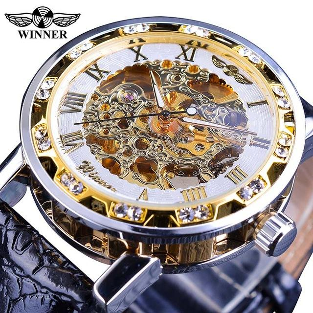 Winner Golden Retro Fashion Watch Mens Mechanical Skeleton Diamond Display Top Brand Luxury Wrist Watch Clock Relogio Masculino