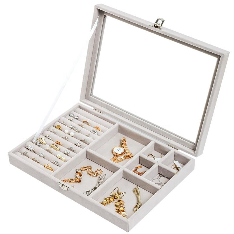 Glas flanell Acryl Tablett Schaufenster Display Ring Luxus Lagerung Boxen Organizer Samt Schmuck Box