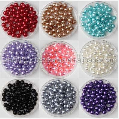 Wholesale Colored Decoration Round Loose Plastic Pearl Beads