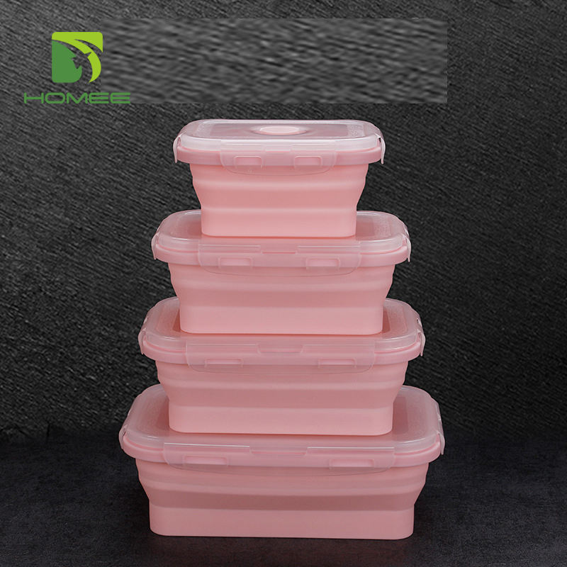 Hot selling Food Container Set Collapsible Silicone Lunch Box folding lunch box