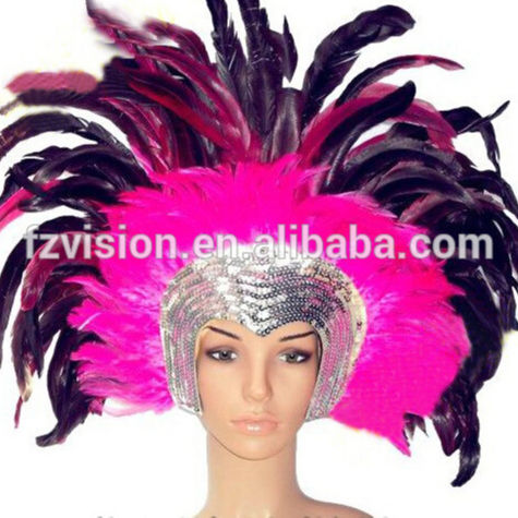 Pink Feather Headdress Clip  Flapper Girl Carnival Dance Costume Fancy Dress