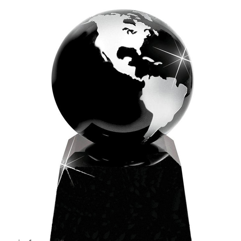 EARTH GLOBE HIGH CRYSTAL TROPHY/blank glass paperweight