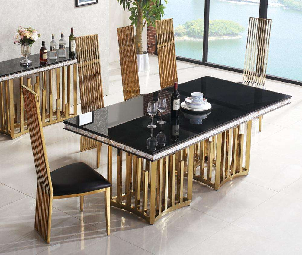 foshan furniture shop online elegant marble top dining table sets
