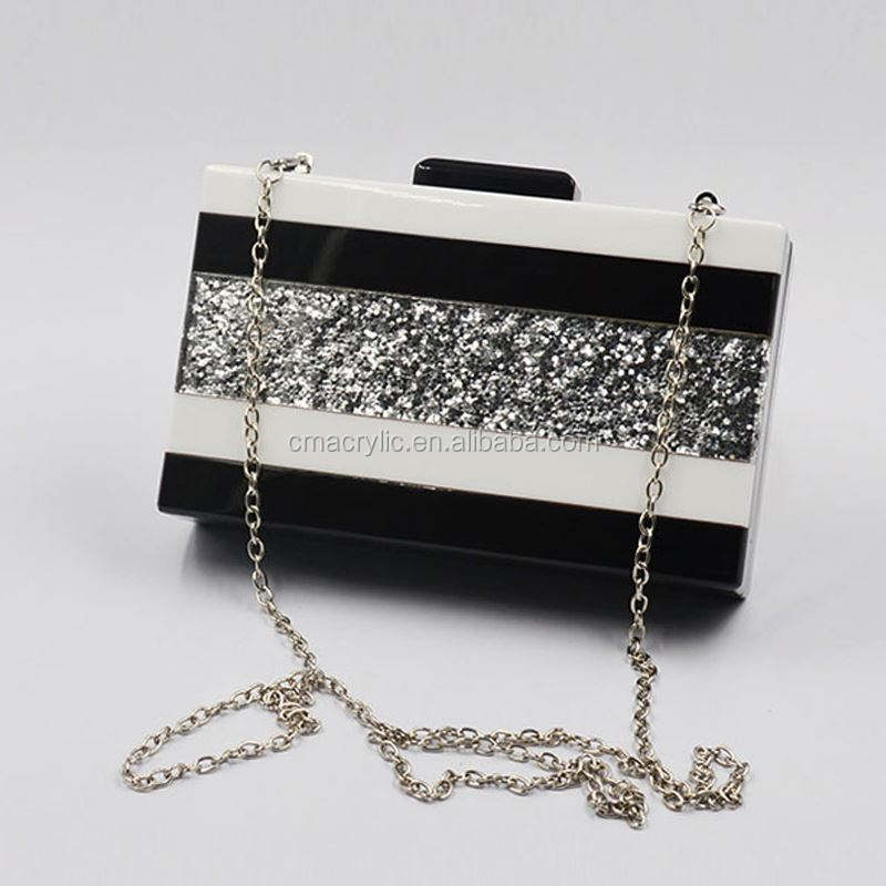 Nobel Design Black and Silver glitter rectangular acrylic clutch handbag with chain strap