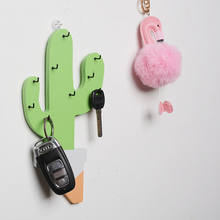 Movable wooden cactus shape for home decoration with car key hooks