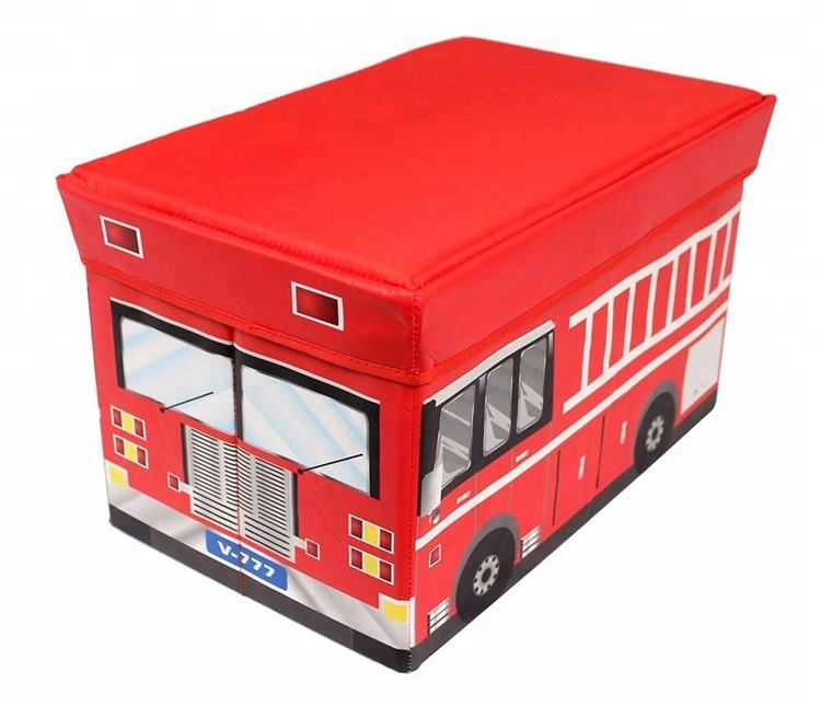 Bus Storage Ottoman Foldable Fabric Kids With Cover Durable High Capacity Lovely Stool Bench Toy Storage Ottoman