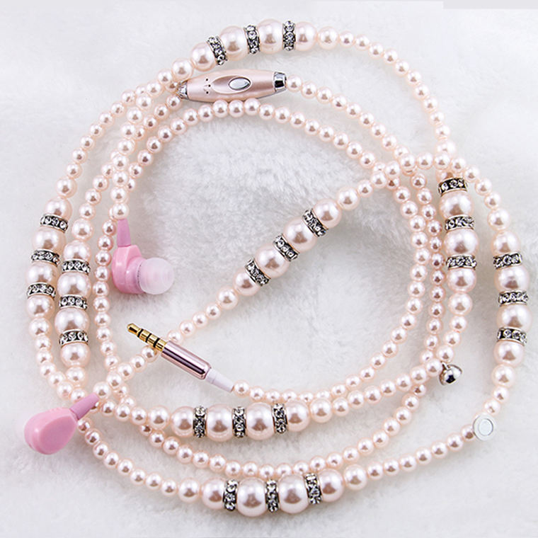 다 latest design fashion jewelry pearl necklace 헤드폰 및 마이크 3.5mm 귀 3.5mm 유선 (eiffel tower) 자기 헤드폰