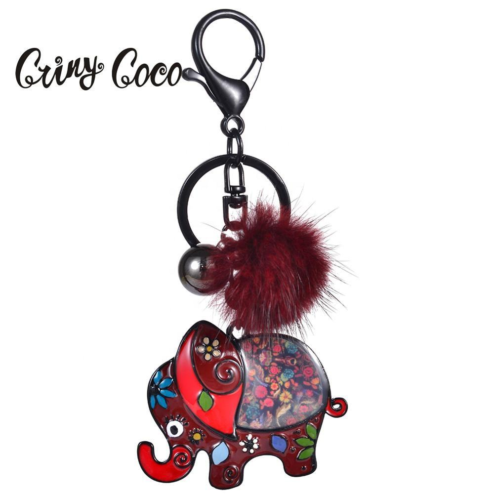 Cring Coco Cute Elephant Girls Jewelry Accessories Funny Trinkets Men Enamel Animal Key Holder Rings Chains Keychains for Kids