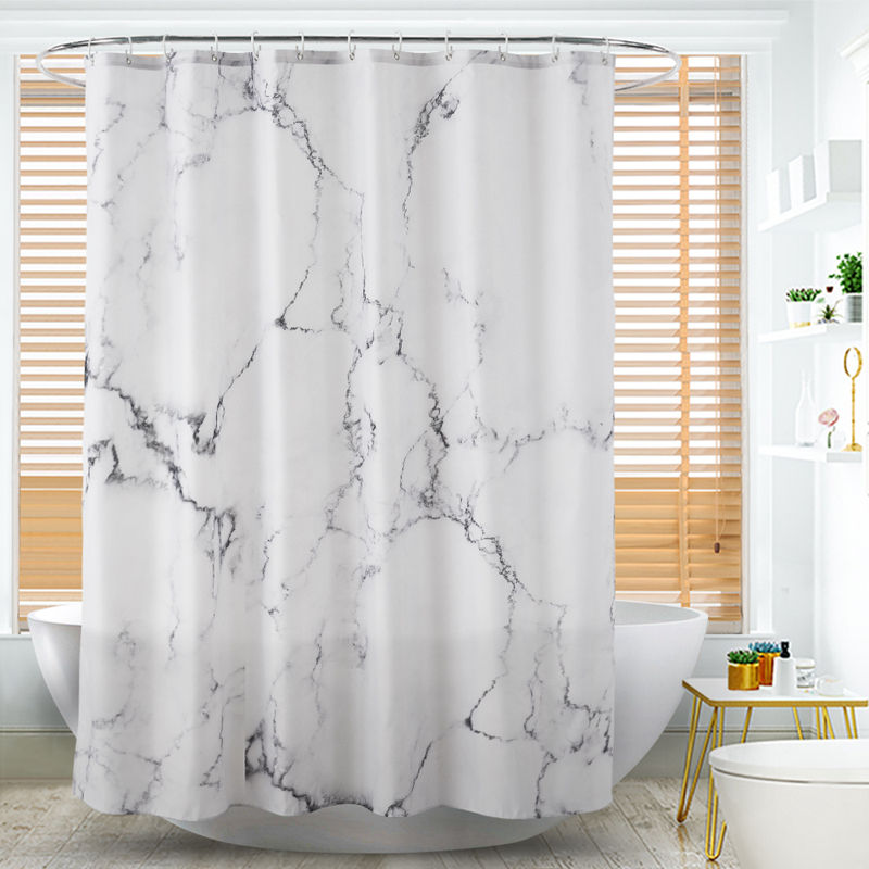 Custom Design Marble Pattern Printing Eco-friendly Waterproof Polyester Custom Design Shower Curtain