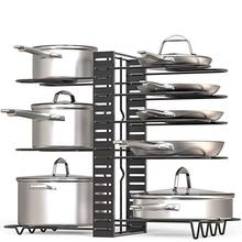 Kitchen Cabinet Pantry Pot Lid Holder Height Adjustable Pan & Pot Rack Organizer