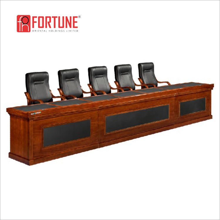Antique leather top long wooden auditorium desk for seven7 VIP (FOHH-4888#)