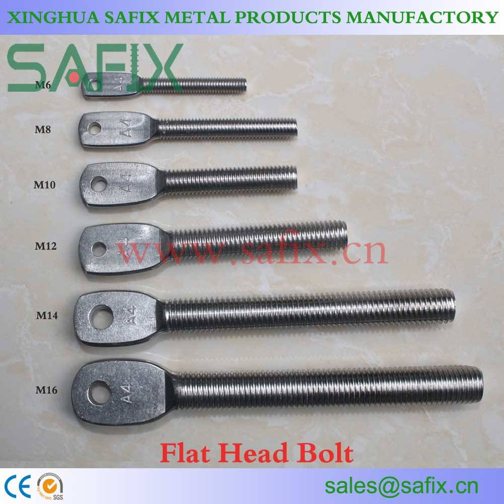 AISI304/A2 ANSI316L/A4 Stainless Steel Flat Head Eye Bolt/Stone Cladding accessories for Marble Fixing System