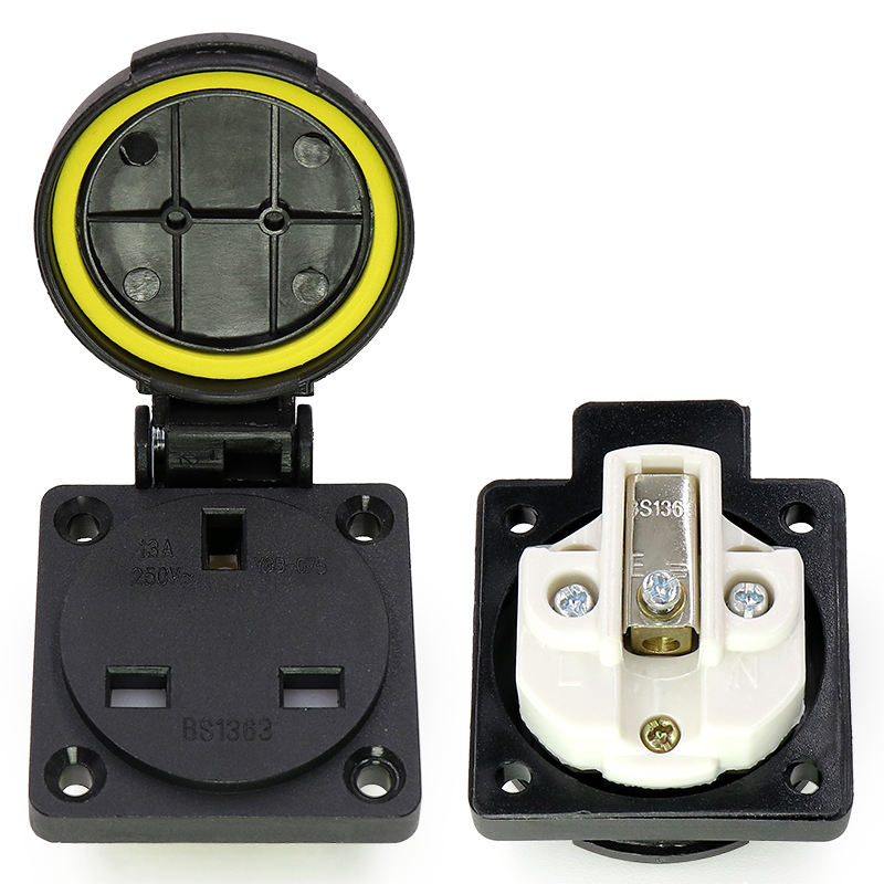 British industry safety outlet 13A 250V IP44 TUV BS certification UK waterproof 13a power socket