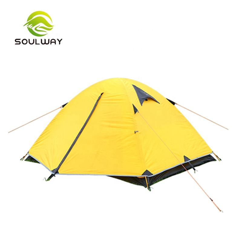 Custom Printed New Upgrade Yellow Big Family Luxury Travel 2 Layer Waterproof Camping Tent with Sun Shade