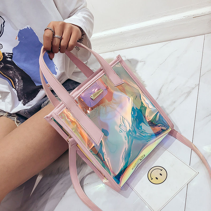 2019 latest design 2 pieces set shoulder messenger transparent jelly tote bag