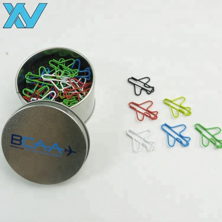 30pcs colorful airplane shape paper clips in round tin box