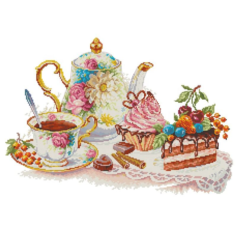 NKF Afternoon tea 6 textile & fabric material diy cross stitch pattern