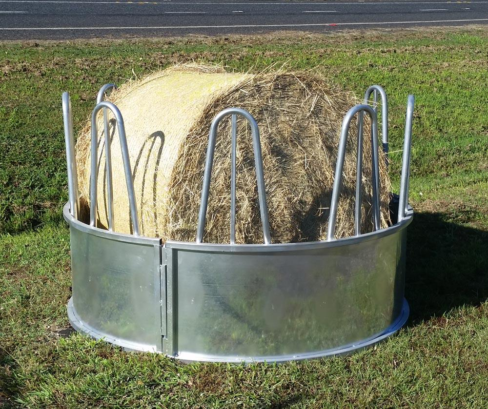 Steel bale loop top galvanized cattle horse hay feeder with roof