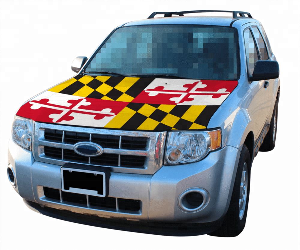 custom elastic printed polyester&spandex Maryland flag car hood cover,promotion car bonnet flag for national day