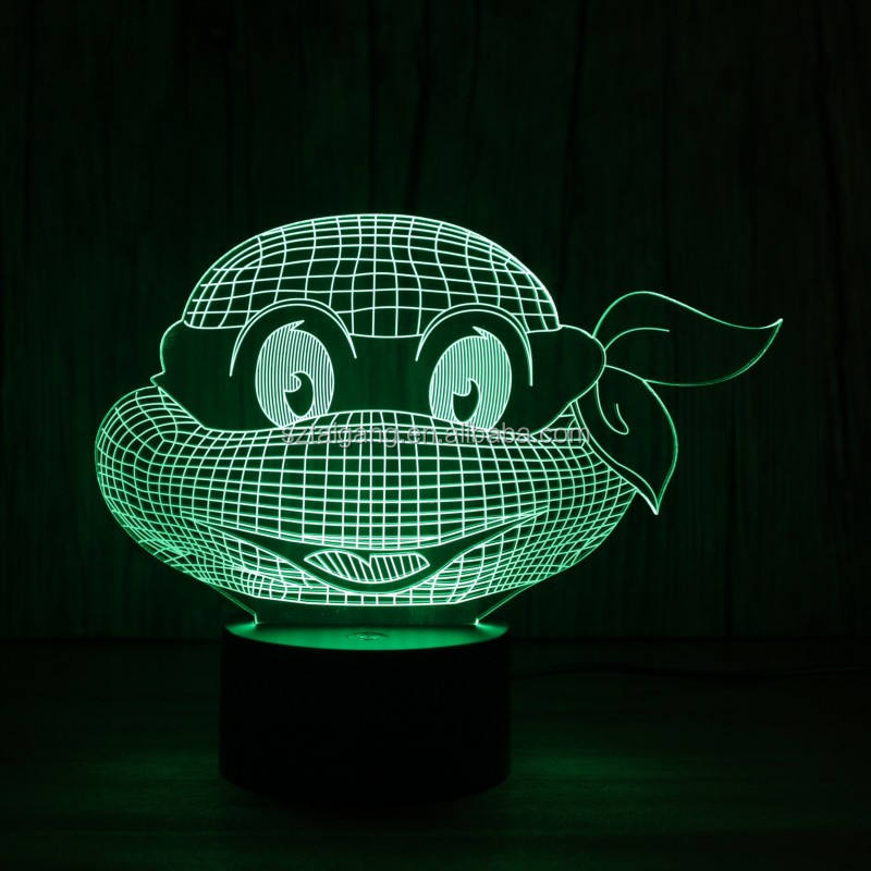 3D LED Teenage Mutant Ninja Turtles Gece Lambası 7 Renk masa masa lambası