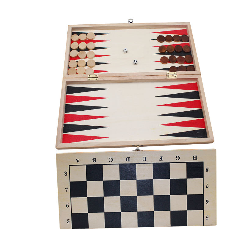 Wholesale custom folding Wooden chess backgammon sets
