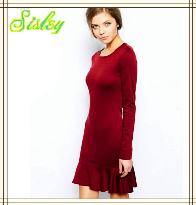 OEM Fomal Design Ladies Dress Winter Casual Dress With Lotus Bottom Red classic dress