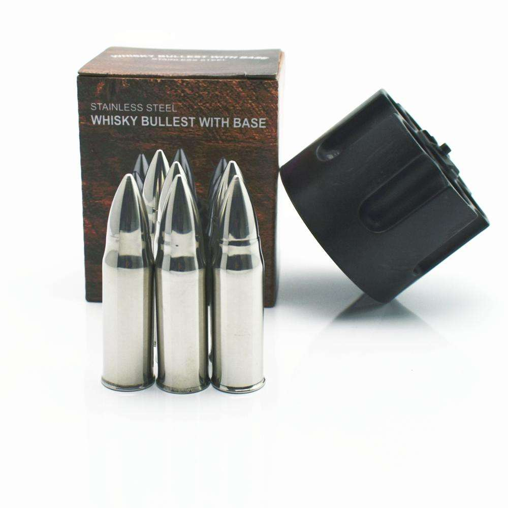 Bullets shaped Stainless Steel Ice Cubes Whiskey Bullet Stones with base